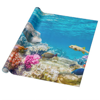beautiful underwater fish world, wather wrapping paper