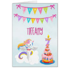 Beautiful Unicorn 7th Birthday Blue Card