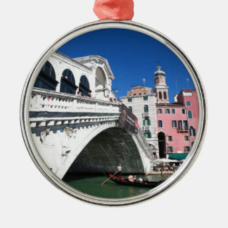 Beautiful Venice, Rialto Bridge Silver-Colored Round Decoration