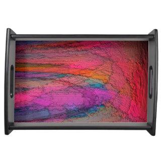 Beautiful Vibrant Abstract Art Serving Platters