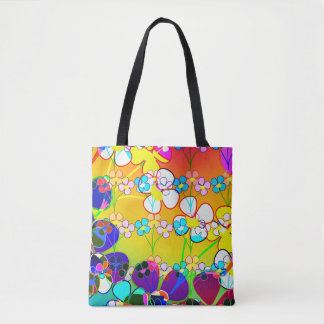 Beautiful Vibrant Abstract Floral Tote Bag