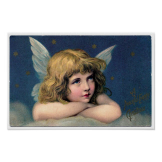 Beautiful Victorian Angel Christmas Card Poster