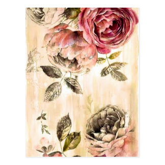 Beautiful Victorian Floral Painting Postcard