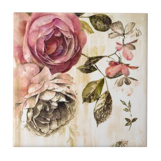 Beautiful Victorian Floral Painting Tile