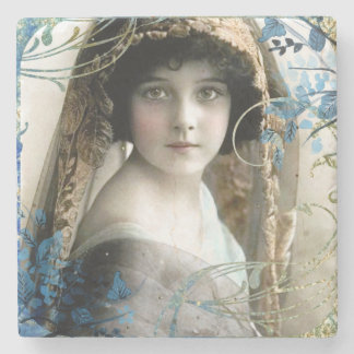 Beautiful Victorian Girl Vintage Illustration Stone Coaster