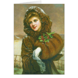 Beautiful Victorian Woman Christmas Note Card