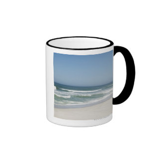 Beautiful view of beach against clear sky 2 mug