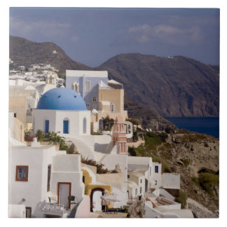 Beautiful village of Oia with white buildings Tile