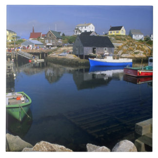 Beautiful village of Peggy's Cove with harbor Large Square Tile