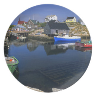Beautiful village of Peggy's Cove with harbor Plate