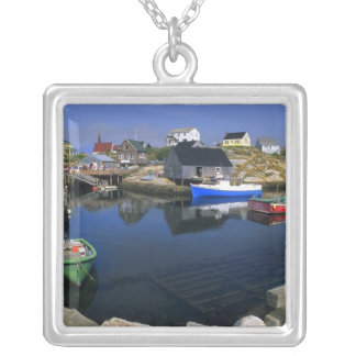 Beautiful village of Peggy's Cove with harbor Silver Plated Necklace