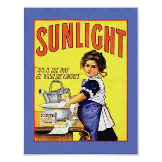 Beautiful Vintage 1889 Sunlight Laundry Soap Girl Poster