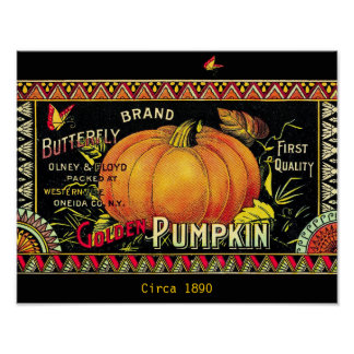 Beautiful Vintage 1890 Butterfly Pumpkin Ad copy Poster