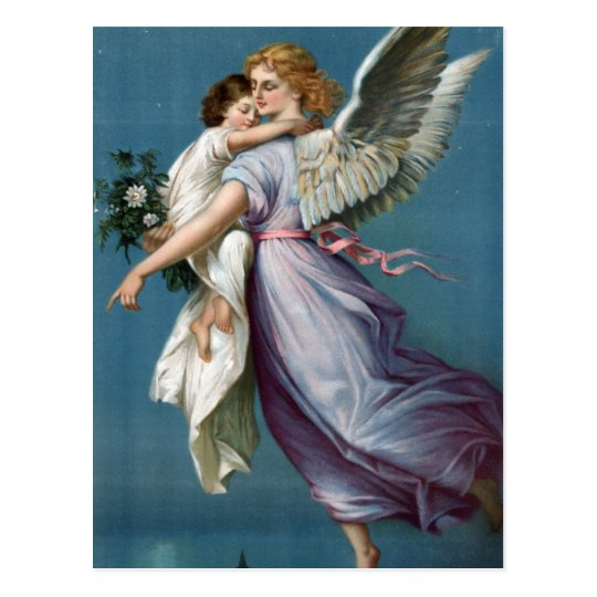 Beautiful Vintage Angel and Child Heavens Art Postcard