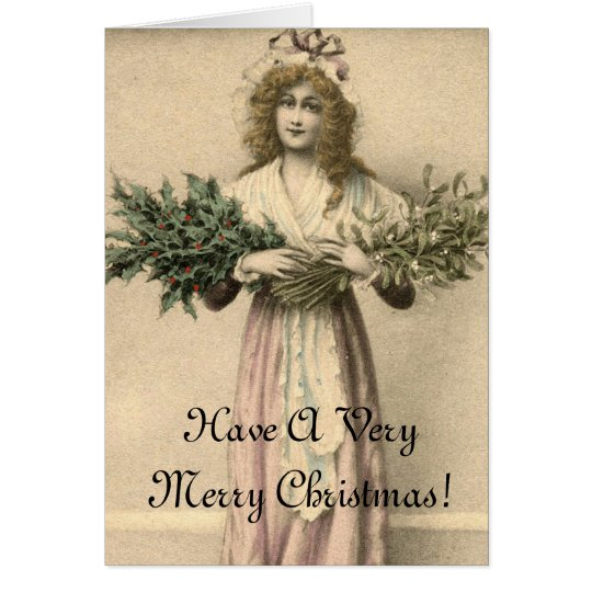 Beautiful Vintage Angel Merry Christmas Card