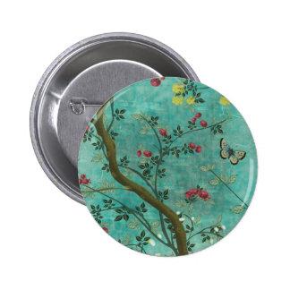 Beautiful vintage antique blossom tree butterflies 6 cm round badge