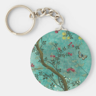 Beautiful vintage antique blossom tree butterflies basic round button key ring