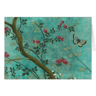 Beautiful vintage antique blossom tree butterflies card