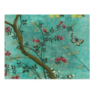 Beautiful vintage antique blossom tree butterflies post cards