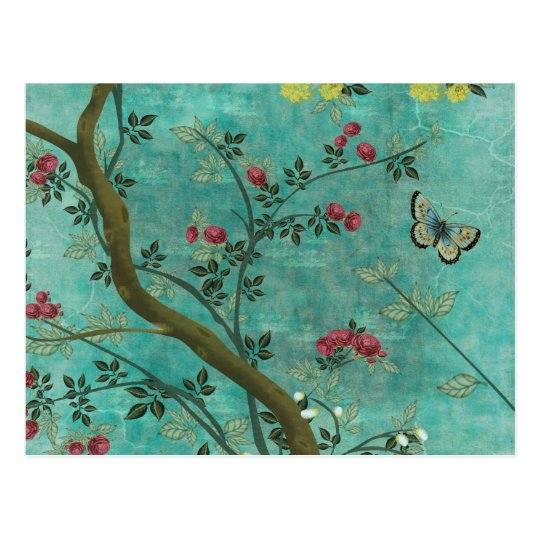 Beautiful vintage antique blossom tree butterflies postcard