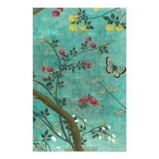 Beautiful vintage antique blossom tree butterflies stationery design