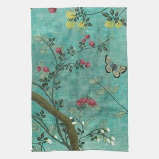 Beautiful vintage antique blossom tree butterflies tea towel