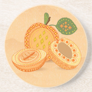 Beautiful Vintage Apricots, Green Leaves Coasters