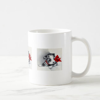 Beautiful Vintage Boston Terrier Puppy Basic White Mug