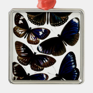Beautiful vintage butterflies picture pattern Silver-Colored square decoration