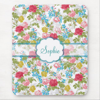 Beautiful vintage chic trendy roses floral pattern mouse pad