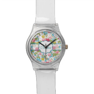 Beautiful vintage chic trendy roses floral pattern watch