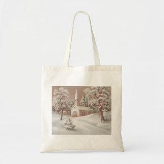 Beautiful Vintage Christmas Church Budget Tote Bag