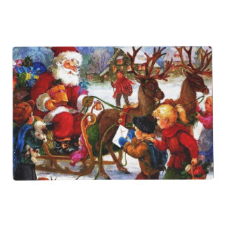 Beautiful Vintage Christmas Painting Laminated Place Mat