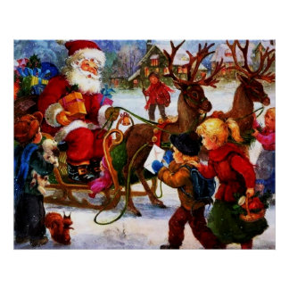 Beautiful Vintage Christmas Painting Poster