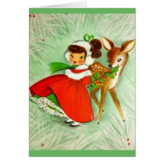 Beautiful Vintage Christmas Reindeer  &  Girl Card