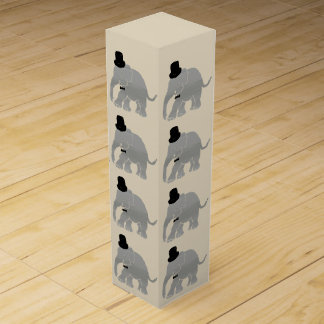 Beautiful Vintage Cylinder Elephant Groom Wedding Wine Boxes