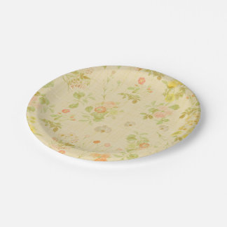 Beautiful Vintage Design Floral 7 Inch Paper Plate