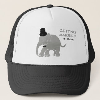 Beautiful Vintage Elephant Groom with Cylinder Trucker Hat