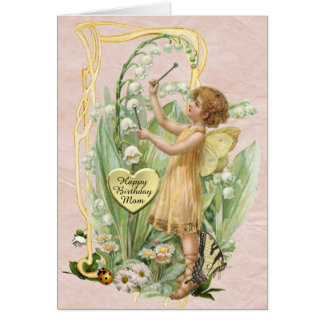 Beautiful Vintage Fairy Birthday Card for a Mother