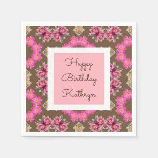 Beautiful Vintage Floral Birthday Disposable Napkin