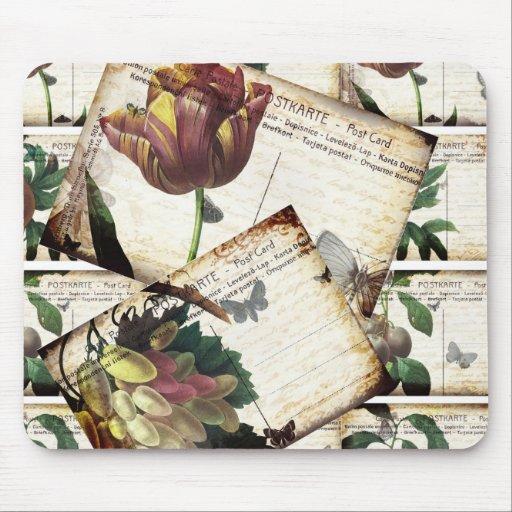 Beautiful Vintage Floral Postcards Collage Design Mouse Pad