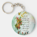 Beautiful vintage flowery tree branch with birds keychains