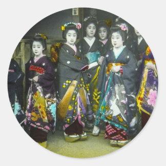 Beautiful Vintage Geisha Japan Magic Lantern Slide Round Sticker