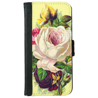 Beautiful Vintage Girly Floral Art iPhone 6 Wallet Case
