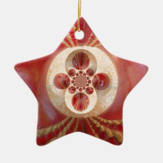 Beautiful Vintage Graphic Leather Cricket Balls.jp Ceramic Star Decoration