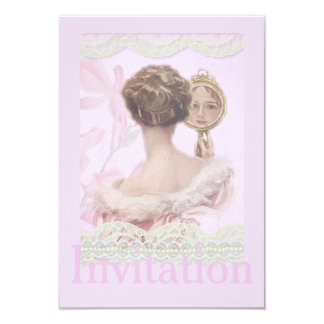 Beautiful Vintage Lady In Pink 9 Cm X 13 Cm Invitation Card