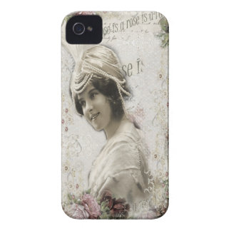Beautiful Vintage Lady with Jewels Flowers iPhone 4 Cases