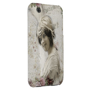 Beautiful Vintage Lady with Jewels & Flowers iPhone 3 Case-Mate Case