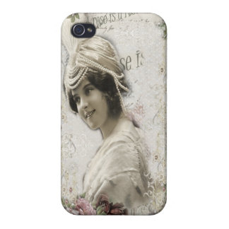 Beautiful Vintage Lady with Jewels & Flowers Covers For iPhone 4