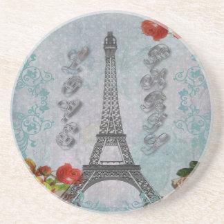 Beautiful vintage Love Paris Eiffel Tower Coaster